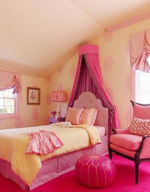 靓丽粉色系公主儿童房设计装修效果图鉴赏