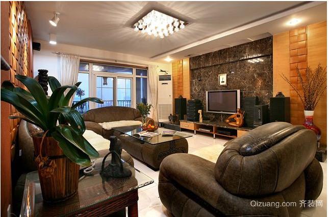 雅致豪华的东南亚客厅装修设计效果图