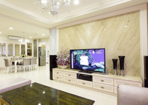 90平米法式风格客厅电视背景墙装修设计