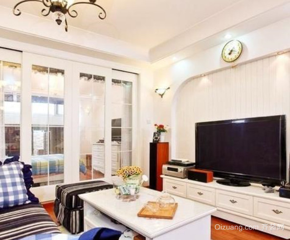 简约地中海风格客厅电视背景墙装修