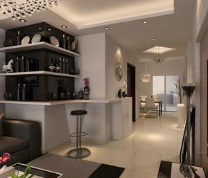 两室一厅现代都市风格客厅吧台设计装修效果图鉴赏
