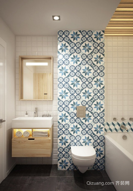单身公寓干净整齐的小卫生间设计装修效果图鉴赏