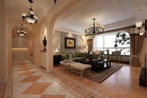 90平米美式经典客厅隔断装修效果图
