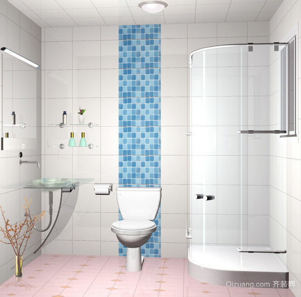 2015时尚精致的6m卫生间装修效果图