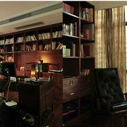 地中海风格书柜装修书房图