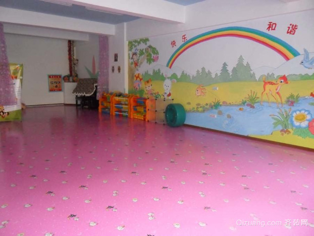 欢快明亮的幼儿园舞蹈室装修效果图