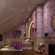 儿童房卧室壁纸装修灯光设计