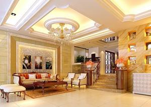 120平米大户型时尚奢华客厅石膏线效果图