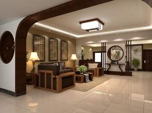 新时代120平米中式客厅玄关隔断装修效果图