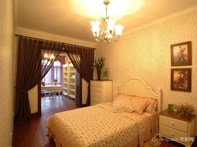 女生喜爱的温馨韩式卧室背景墙装修效果图