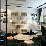 现代唯美的客厅书架效果图