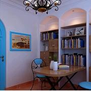 地中海风格书柜装修灯光设计