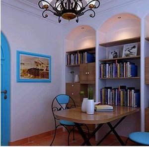 简约美观的地中海书柜装修效果图