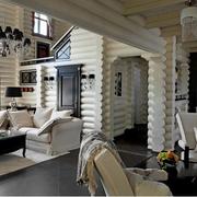 纯白色美式乡村风格客厅图