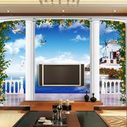 欧式罗马柱精致电视背景墙