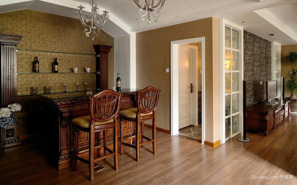 实木打造的客厅吧台设计装修效果图鉴赏