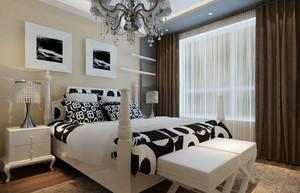 三室一厅现代简约卧室背景墙装修效果图