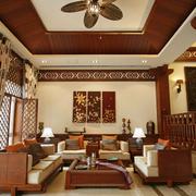 东南亚风格客厅整体布局