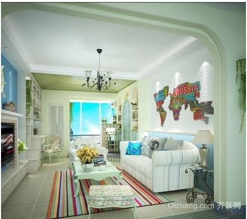 美丽优雅的地中海客厅装修效果图