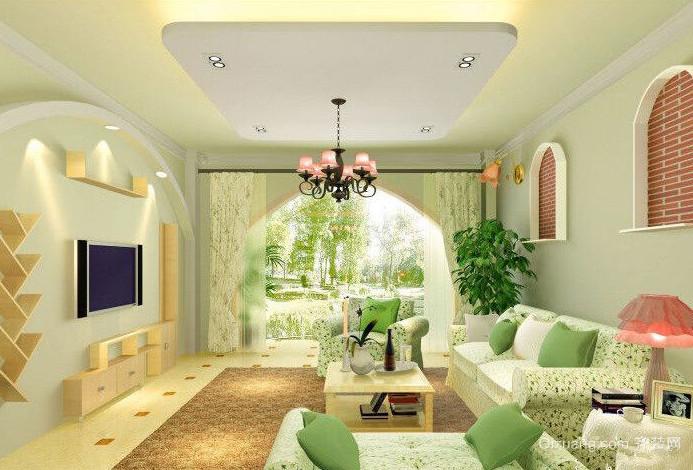90平米大户型田园风格客厅飘窗装修效果图