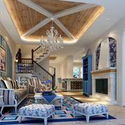 地中海风格客厅吊顶图