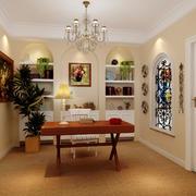 美式风格书房装修灯光设计