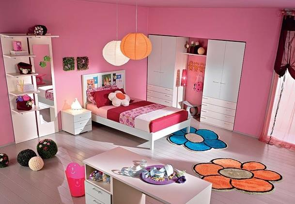 甜美 小女生儿童 房小 卧室 壁纸装修效果图 齐装