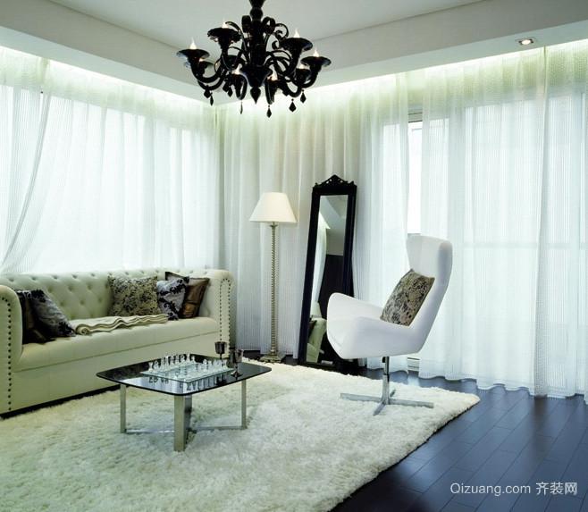 纯洁素雅的白色客厅飘窗设计装修效果图