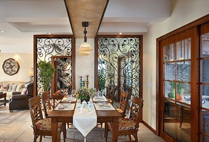 90平米 美式 客厅 屏风隔断 装修 效果图 齐装网装