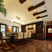 中式风格餐厅装修吊顶图