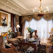 美式风格客厅装修吊顶图