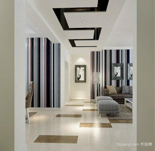 100平米现代简约风格客厅过道吊顶装修效果图