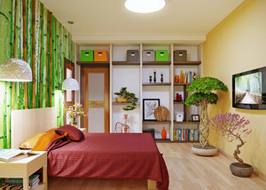 小卧室立体墙贴效果图