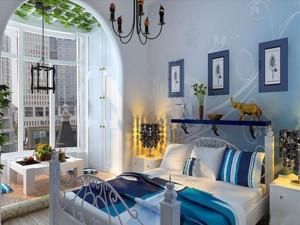 地中海风格单身公寓卧室装修效果图