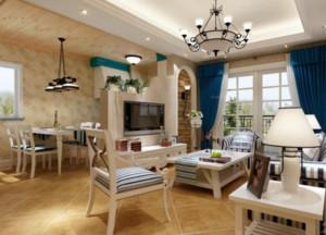 简约大方地中海风格客厅电视背景墙设计