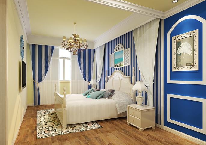 地中海风格 单身公寓卧室装修 效果图 齐装网装