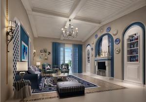 地中海风格小别墅客厅吊顶装修效果图