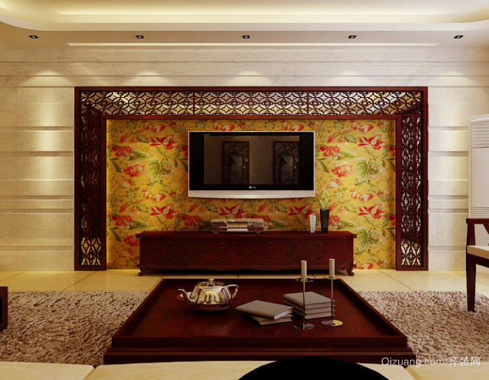 90平米精美创意中式电视背景墙