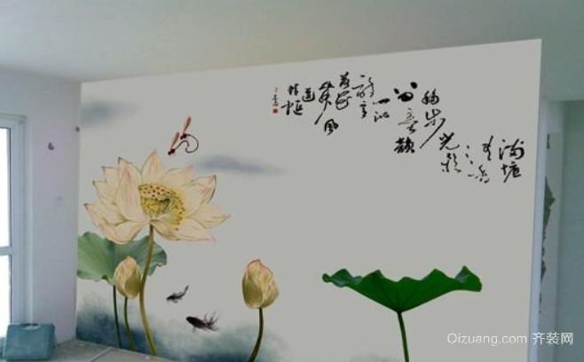 2015全新中式电视背景墙墙绘装修效果图