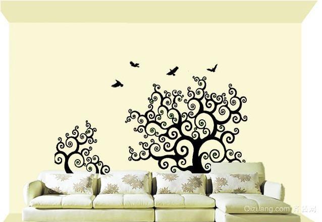 2015全新中式清新淡雅沙发背景墙墙绘设计