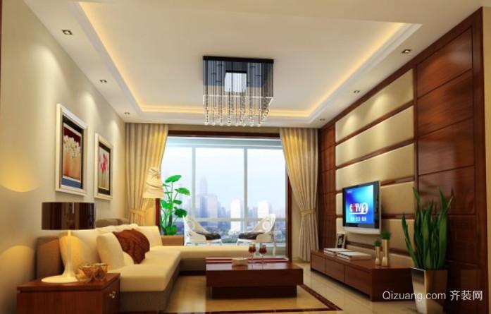 两室一厅中式软包电视背景墙装修效果图