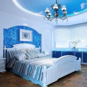 经典蓝色卧室效果图