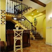温暖橙色楼梯设计