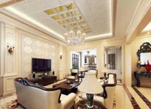 100平米欧式宫廷风格客厅石膏板吊顶装修效果图