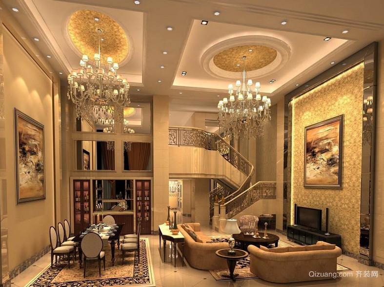富丽堂皇的欧式别墅客厅吊顶装修效果图鉴赏