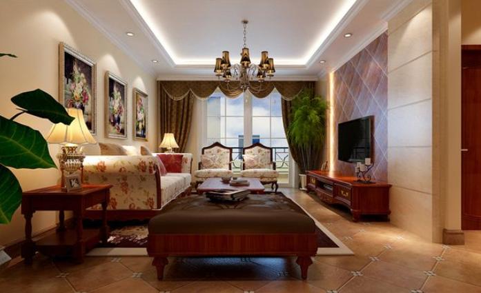 别墅 美式 乡村客厅 石膏板 吊顶装修效果图 齐装