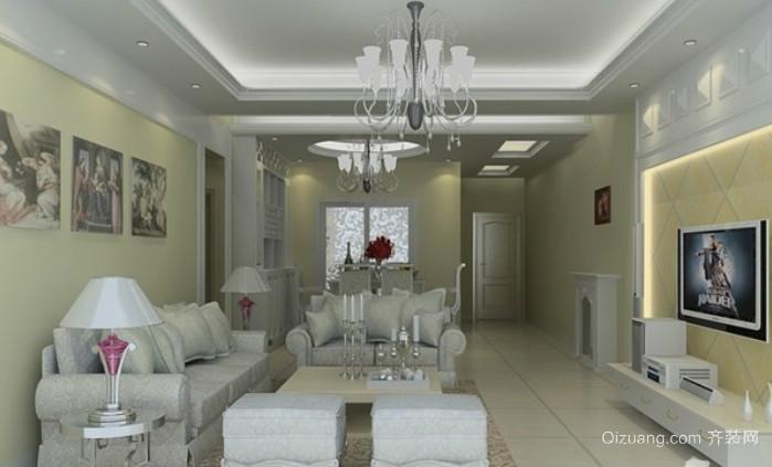 精美白色简欧风格客厅装修效果图