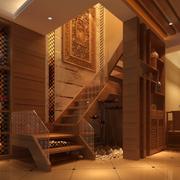 深红色温暖楼梯设计