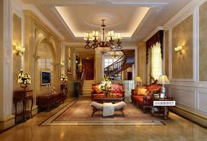 2015欧式别墅客厅餐厅装修效果图