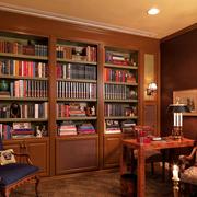 现代书房实木书柜装修效果图